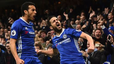 Cesc Fabregas reacts after scoring on his 300th Premier League appearance