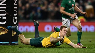 Dane Haylett-Petty of Australia scores a try against Ireland in November