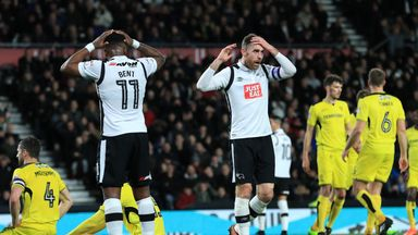 Derby County's Richard Keogh (right) and Darren Bent rue a missed chance