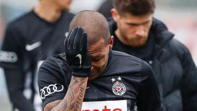 Everton Luiz leaves the field in tears after Partizan Belgrade beat Rad Beograd on Sunday