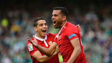 Gabriel Mercado (right) celebrates as Sevilla moved level at the top with Real Madrid