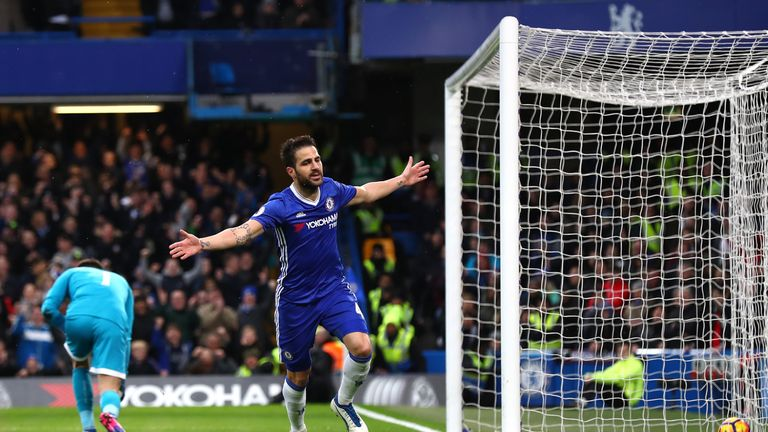 LONDON, ENGLAND - FEBRUARY 25:  Cesc Fabregas of Chelsea celebrates scoring his sides first goal during the Premier League match between Chelsea and Swanse