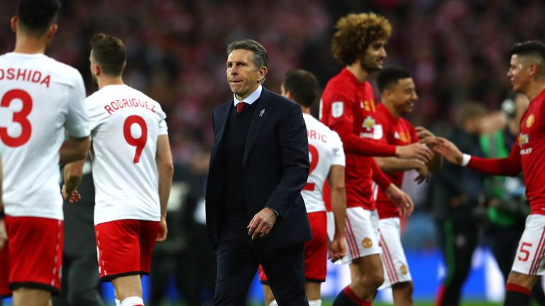 LONDON, ENGLAND - FEBRUARY 26: Claude Puel, Manager of Southampton looks dejected after the EFL Cup Final match between Manchester United and Southampton a