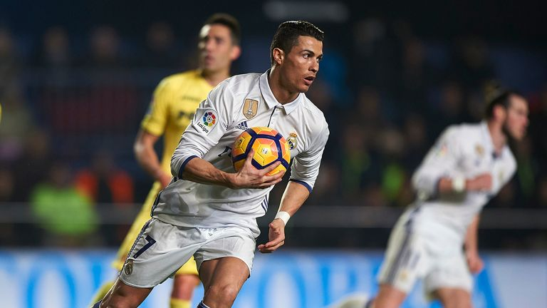 Cristiano Ronaldo turns away from goal after scoring Real Madrid's second