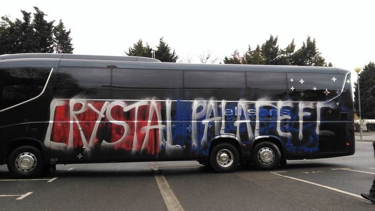 Crystal Palace's team coach was vandalised by their own fans before win over Middlesbrough - Pic credit: Jack Willis