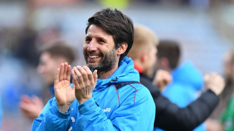 Lincoln City's English manager Danny Cowley reacts after winning the English FA Cup fifth round football match between Lincoln City and Burnley at Turf moo