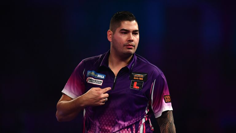 Jelle Klaasen of the Netherlands reacts during his first round match against Jeffrey de Graaf of the Netherlands