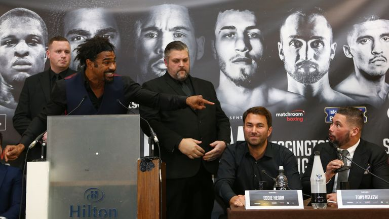 LIVERPOOL, ENGLAND - FEBRUARY 27: David Haye rpoints at Tony Bellew during a press conference at the Hilton Hotel on February 27, 2017 in Liverpool