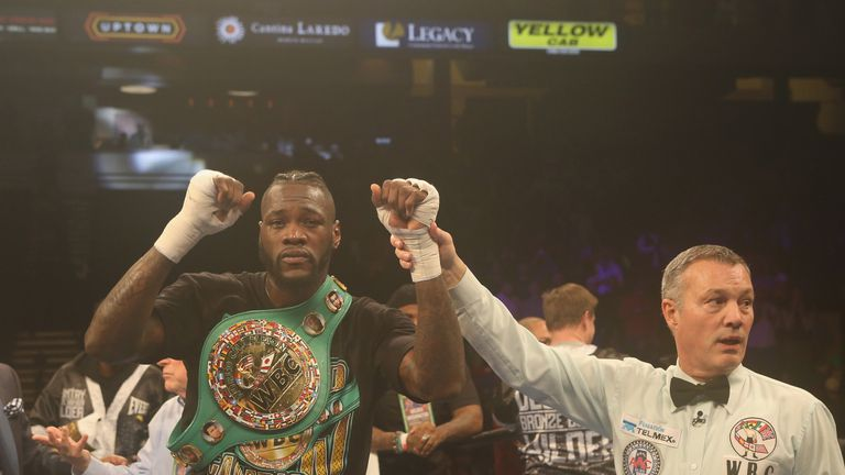 BIRMINGHAM, AL - FEBRUARY 25: WBC World Heavyweight Champion Deontay Wilder is announced the winner in his fight against Gerald Washington at Legacy Arena