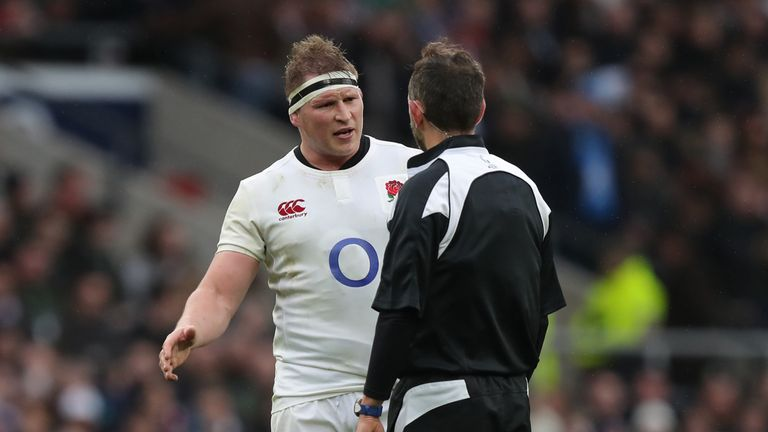 England's Dylan Hartley chats with Referee Romain Poite