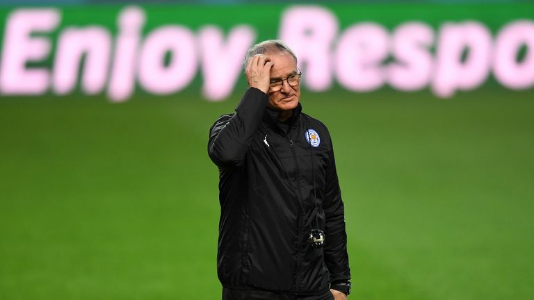 Claudio Ranieri looks on during a training session ahead of the UEFA Champions League round-of-16, first leg against Sevilla