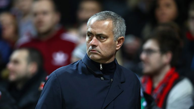 MANCHESTER, ENGLAND - FEBRUARY 16:  Jose Mourinho, Manager of Manchester United looks on during the UEFA Europa League Round of 32 first leg match between