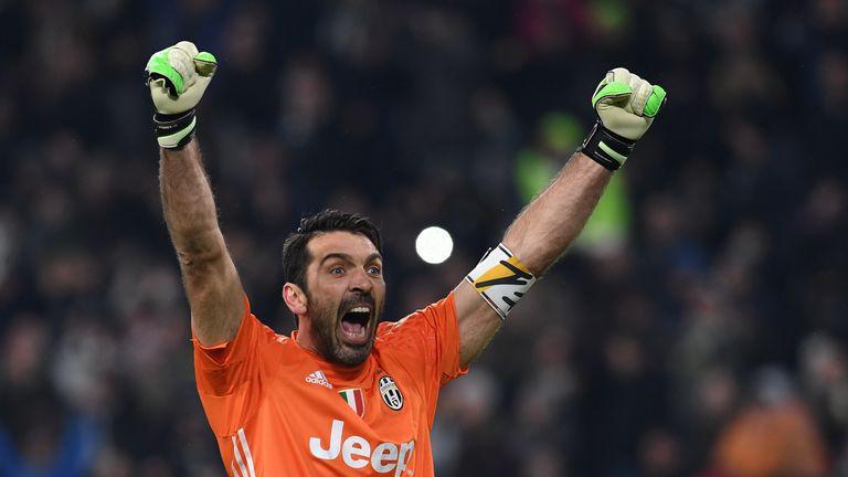 Gianluigi Buffon of Juventus celebrates victory over Crotone