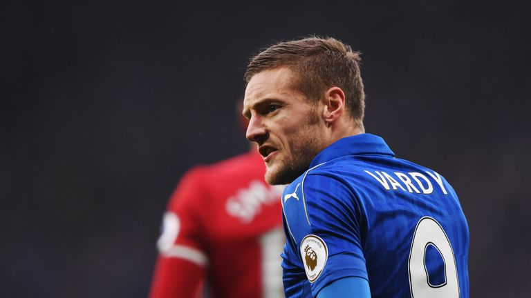 LEICESTER, ENGLAND - FEBRUARY 05:  Jamie Vardy of Leicester City reacts during the Premier League match between Leicester City and Manchester United at The
