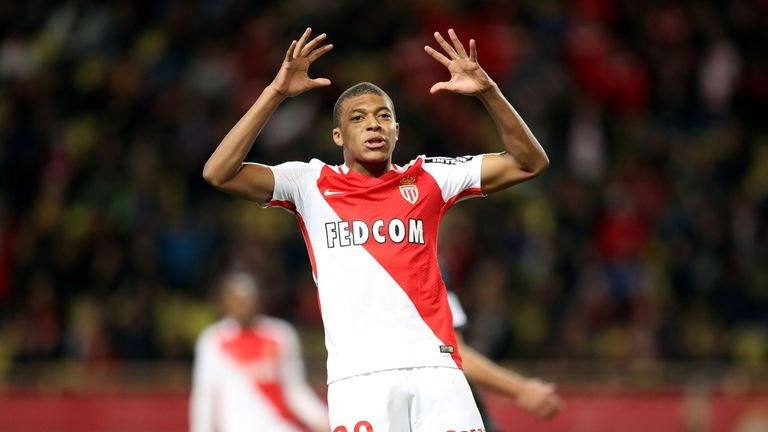 Kylian Mbappe Lottin reacts during the French Ligue 1 football match between Monaco (ASM) and Caen (SMC) on December 21, 2016