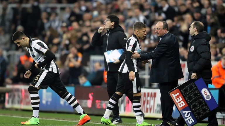 Aleksandar Mitrovic replaces Dwight Gayle during the Sky Bet Championship match at St James' Park