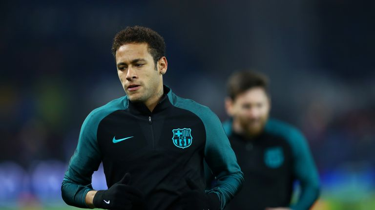 PARIS, FRANCE - FEBRUARY 14:  Neymar of Barcelona runs during the warm-up before the UEFA Champions League Round of 16 first leg match between Paris Saint-