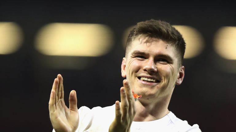 CARDIFF, WALES - FEBRUARY 11:  Owen Farrell of England celebrates their victory during the RBS Six Nations match between Wales and England at the Principal