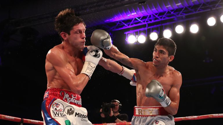 CHAMPIONSHIP BOXING.HULL ICE ARENA,HULL 25/2/17.PIC;LAWRENCE LUSTIG.VACANT WBC SUPER BANTAMWEIGHT CHAMPIONSHIP 8ST 10LBS.GAVIN MCDONNELL V REY VARGAS