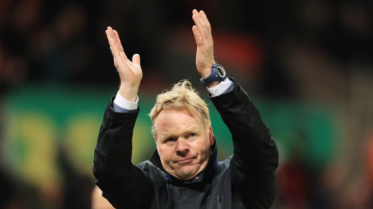 STOKE ON TRENT, ENGLAND - FEBRUARY 01: Ronald Koeman, Manager of Everton applauds supporters during the Premier League match between Stoke City and Everton
