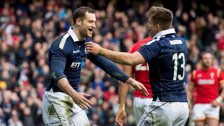 Tim Visser (left) is congratulated after scoring Scotland's second try