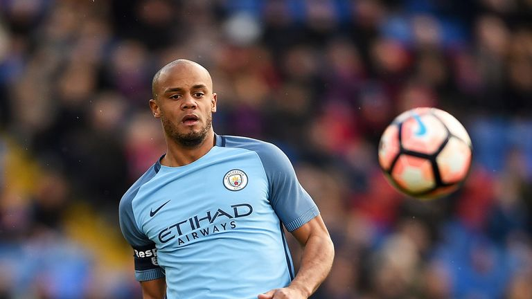Vincent Kompany in action during the Emirates FA Cup Fourth Round match against Crystal Palace