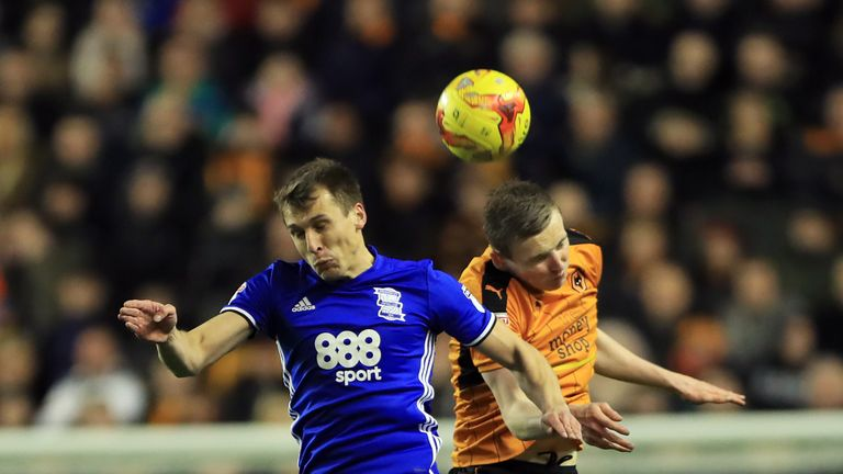 Birmingham's Robert Tesche (left) and Wolverhampton Wanderers' Jon Dadi Bodvarsson battle for the ball during the Sky Bet Championship match at Molineux