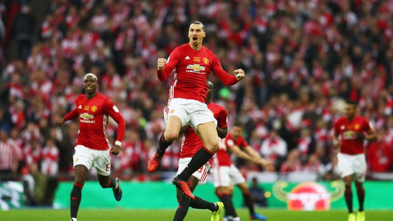 Zlatan Ibrahimovic celebrates scoring the opening goal in the EFL Cup final