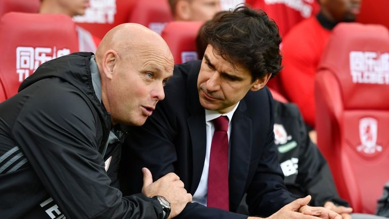 Agnew is in charge of first-team affairs following Aitor Karanka's (R) departure