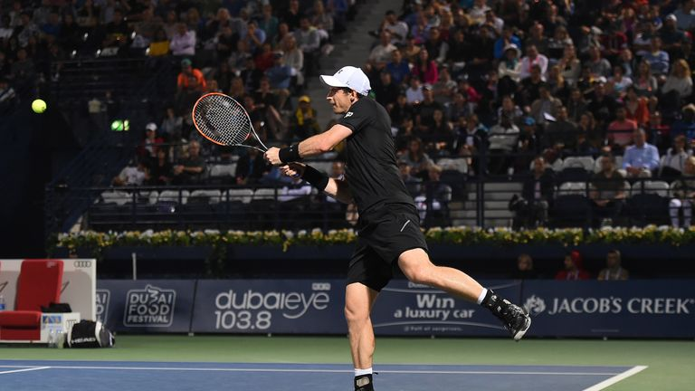 Andy Murray raced into a quarter-final meeting with Philipp Kohlschreiber with a dominant performance in Dubai