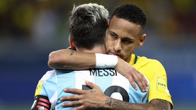 Neymar embraces Lionel Messi after Brazil's win over Argentina in November