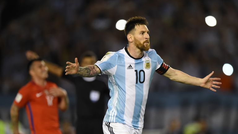 Messi scored for Argentina against Chile