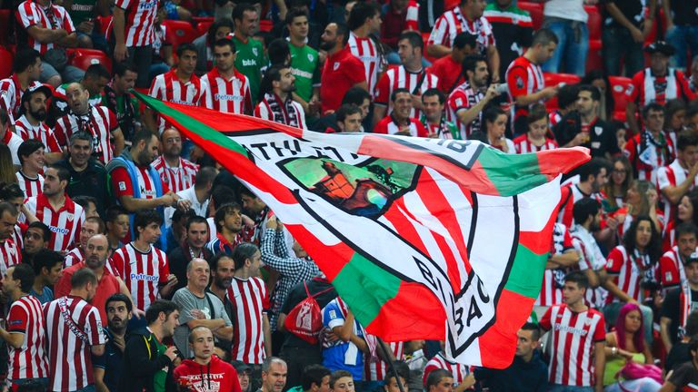 Athletic Bilbao supporters inside San Mames stadium