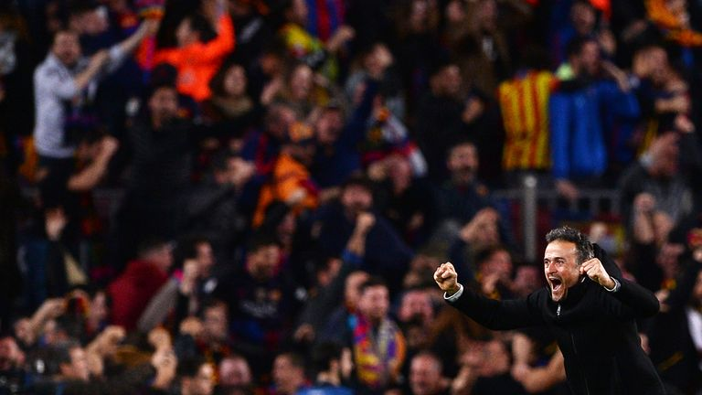 Luis Enrique enjoys the moment following the 6-1 victory over PSG in the Champions League round of 16 second leg