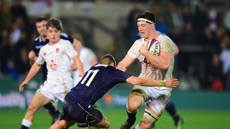 Ben Curry  on the charge for England U20's