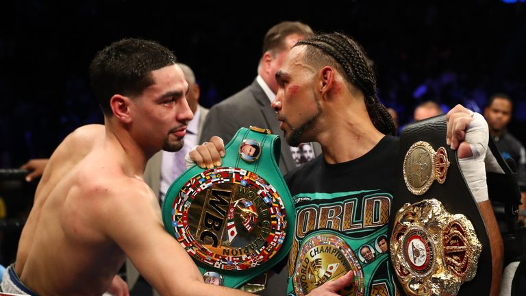 Danny Garcia congratulates  Keith Thurman after losing a split decision against him for the  WBA/WBC Welterweight titles