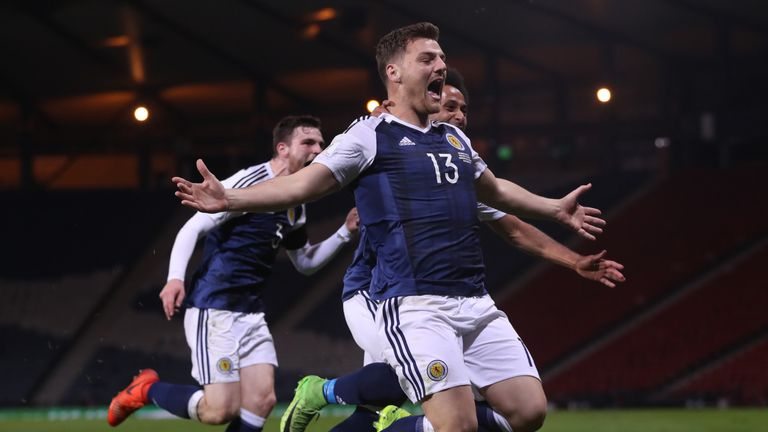 Scotland's Chris Martin celebrates after he scores late on