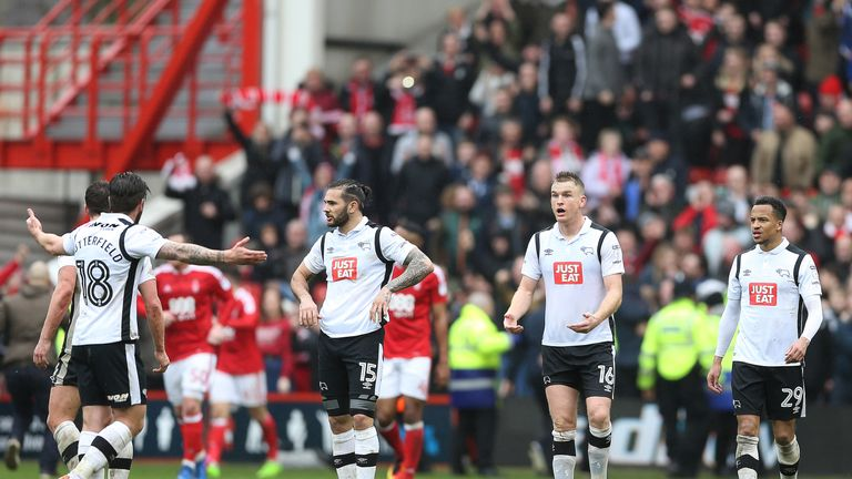 Derby react after Forest's late equaliser