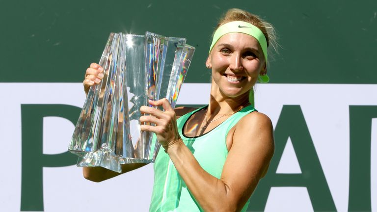 Elena Vesnina celebrates after victory over Svetlana Kuznetsova at Indian Wells