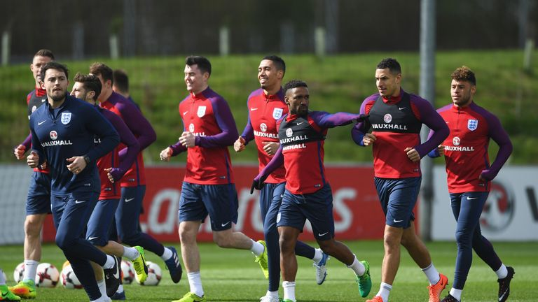 Jermain Defoe (centre) is back in the England squad for the first time since 2013
