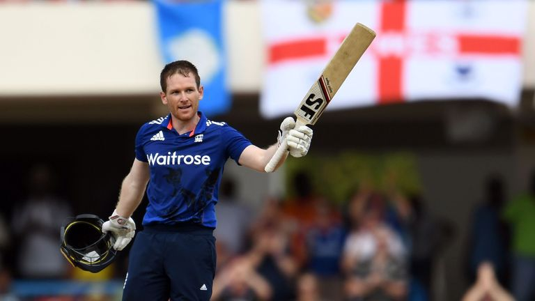 England captain Eoin Morgan celebrates his hundred in the opening match of the series in Antigua
