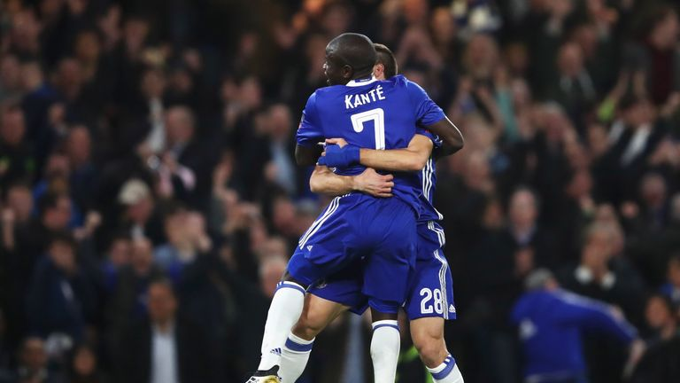 N'Golo Kante's second-half strike guided Chelsea past 10-man Manchester United