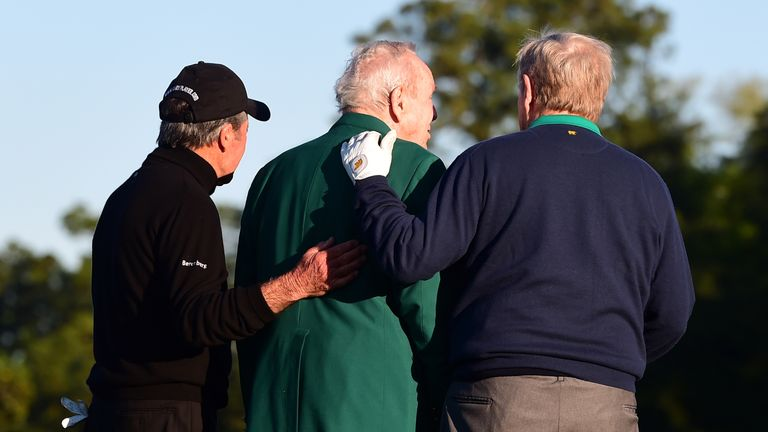 Supported by his long-time friends, Palmer faced the cameras for what proved to be the last time at Augusta last year