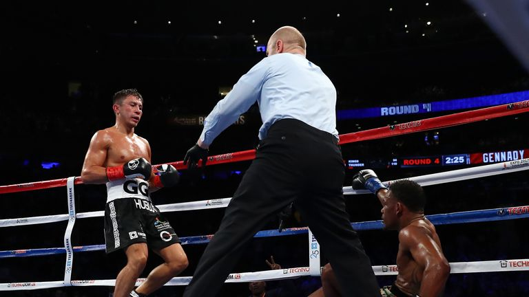 Gennady Golovkin knocked down Daniel Jacobs in the fourth round