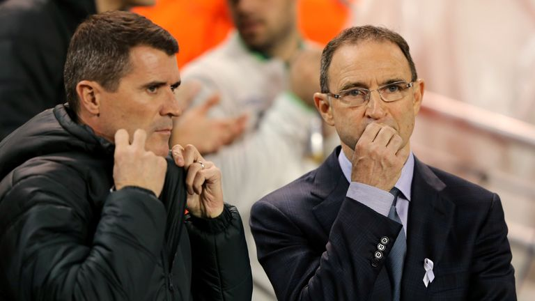 Ireland manager Martin O'Neill (L) and assistant boss Roy Keane have a selection headache