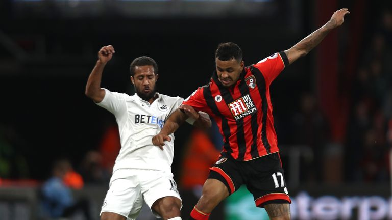 Swansea winger Wayne Routledge (left) and Bournemouth's Joshua King challenge for the ball
