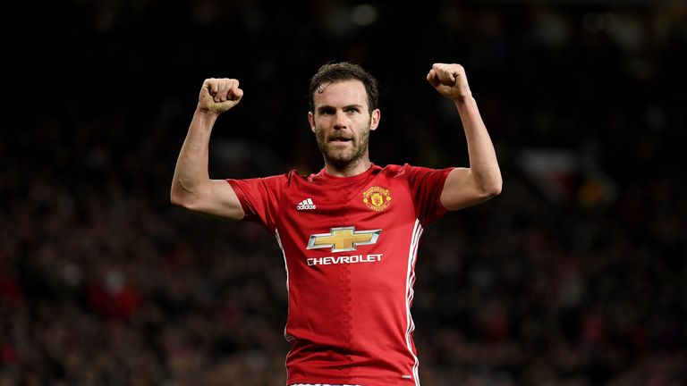 Juan Mata celebrates after scoring for Manchester United on Thursday