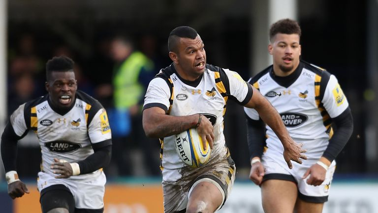 Kurtley Beale scored two tries in Wasps' win over Bath on Saturday