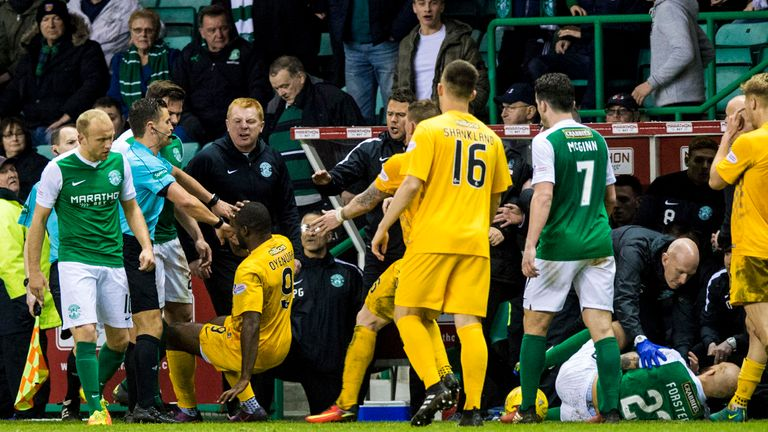 Kudus Oyenuga (9) angered Hibernian after his tackle on Jordan Forster