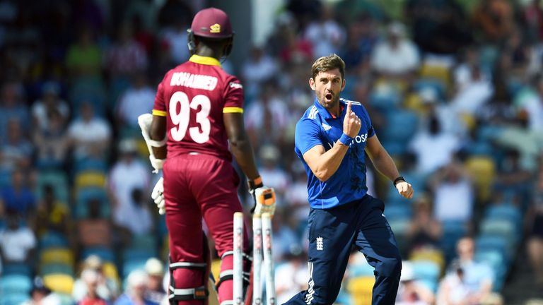 Liam Plunkett took three wickets as England bowled out West Indies for just 142 in the third ODI